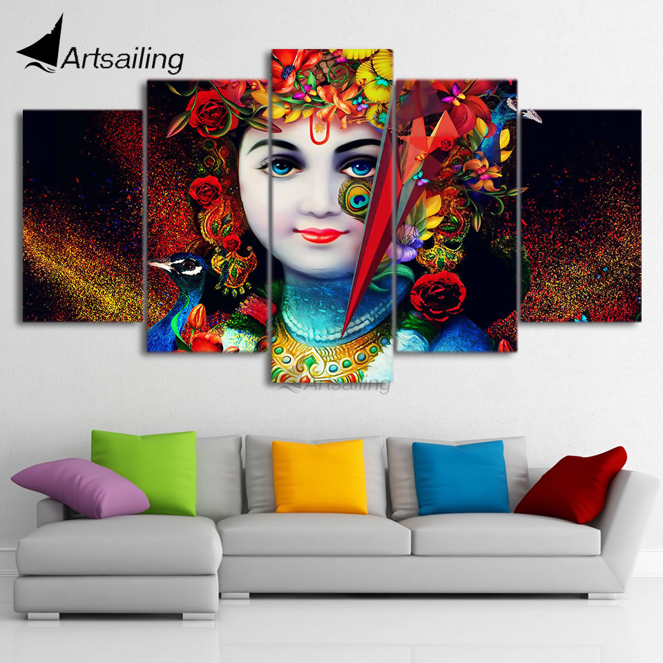 Hd Printed 5 Piece Canvas Art Indian God Radha Krishna Painting Poster World Map Wall Pictures